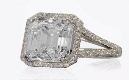 GIA Certified Platinum 2.00 CT Asscher & Round Halo Cut Diamond Engagement Ring