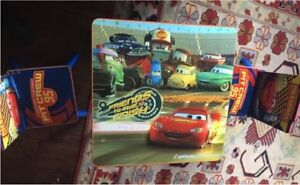 """kids wooden table and chair """"CARS"""" themed"""