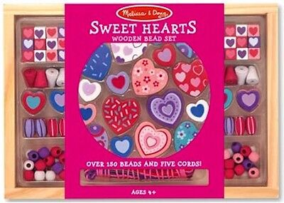 Melissa and Doug * Wooden Sweet Hearts Bead Set * NEW beads arts & craft toy
