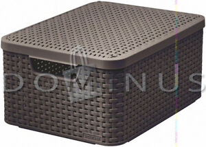 98602 Curver Aufbewahrungsbox Ordnungsbox mit Deckel RATTAN Dunkelbraun 33x44cm - <span itemprop='availableAtOrFrom'>Koszalin, Polska</span> - Zwroty są przyjmowane - Koszalin, Polska