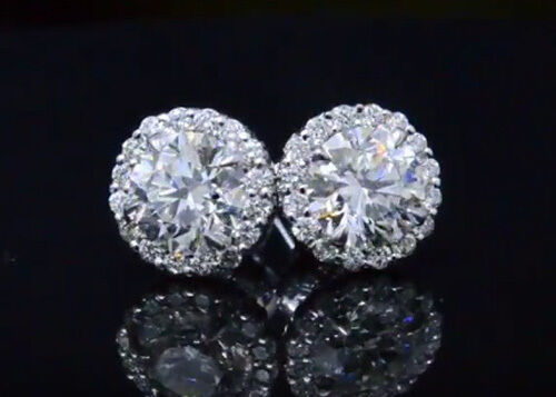 2.00ctw Natural Round Cut Halo Pave Diamond Earrings - GIA Certified