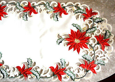 Christmas Red Poinsettia Lace Dresser Scarf  27