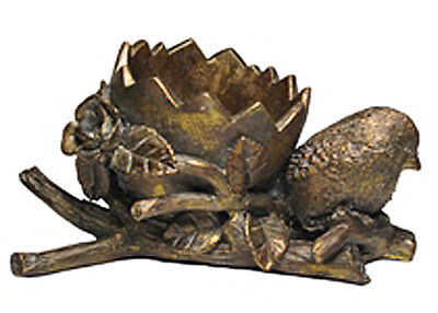 PLANTERS - BIRD WITH CRACKED EGG SHAPED PLANTER - ANTIQUE GOLD FINISH Antique Gold Finish Bird