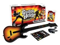 nintendo wii guitar hero world tour with guitar