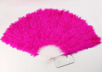 HOT PINK 30cm FEATHER FAN BURLESQUE HEN NIGHT DANCE FANCY DRESS OUTFIT (Burlesque Fan Dance Kostüme)
