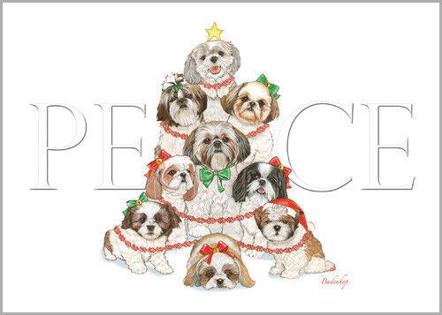 Shih Tzu Christmas Cards Set of 10 cards & 10 envelopes