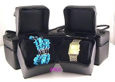 Black Faux Leather Luxury Zipped Watch Bracelet Bangle Jewellery Gift Box Case