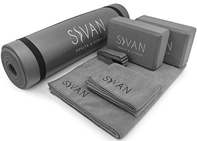 Yoga Set 6-Piece Includes 1/2 Ultra Thick NBR Exercise Mat, 2 Yoga Blocks,(Gray)