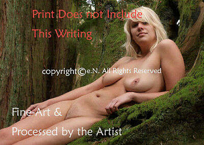NUDE, BLOND, YOUNG, Hairy, woman in Forest COLOR PHOTOGRAPH DIRECT from ARTIST - Nude Hairy Women