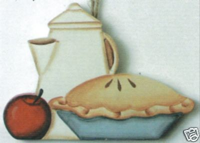 Pies Sign - Wood  APPLE PIE COFFEE POT KITCHEN decor wall, shelf sitter, magnet country sign