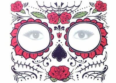 Rose Day of the Dead Face Temporary Tattoos! Día de Muertos Stickers Halloween