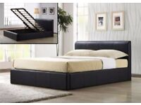 NEW DOUBLE KINGSIZE FAUX LEATHER STORAGE BED FRAME WITH ORTHOPEDIC FOAM SPRUNG MATTRESS