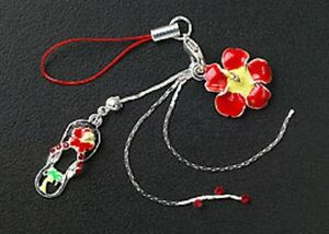 New-Cell-Phone-Charm-Strap-For-Mobile-Red-Enamel-Flower-Crystal-Free-Shipping