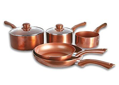 Cermalon 5 Piece Copper Pan Set Non Stick Induction Hob Ceramic Stainless Steel