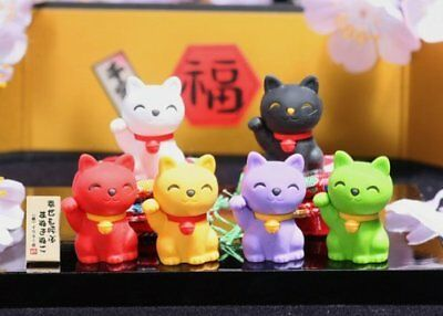 - Iwako Lucky Good Fortune Cat Japanese Erasers 6 pcs S-3558