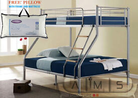 SPECIAL OFFER - Brand New Bunk Bed Single Double Triple Children Metal Sleeper Frame with Mattresses