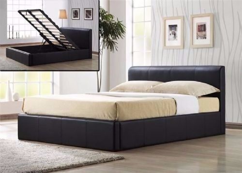 STYLISH LOW FRAME FAUX LEATHER STORAGE DOUBLE BED BLACK/BROWN MATTRESS OPTION AVAILABLE