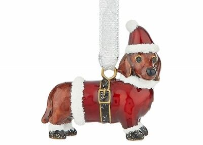 Enamel Santa Dachshund Dog Christmas Holiday Ornament  for sale  Virginia Beach
