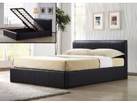 "OFFER YOU WANT""DOUBLE LEATHER STORAGE OTTOMAN GAS LIFT UP BED FRAME- OPT MATTRESS"