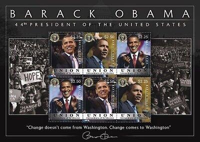 Union Island Grenadines - 2009 Barack Obama 44th President Stamp- s/h of 6
