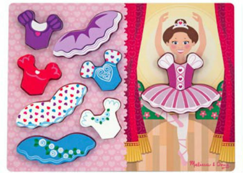 Melissa & Doug Wooden Chunky Dress Up Ballerina Jigsaw Puzzle MND9022
