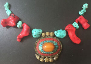 Rare Antique Tibetan Amulet,Natural Coral,Turquoise,Large Amber