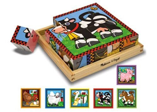 Melissa and Doug Farm Cube Puzzle NEW 16-piece wooden animals cow pig sheep duck