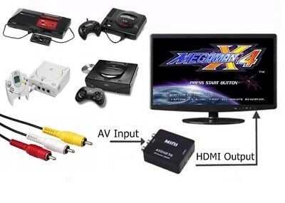 RCA AV To HDMI HDTV Converter For Sega Master System Genesis Saturn Dreamcast for sale  Shipping to India