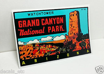 "GRAND CANYON Arizona ""Watchtower""  Vintage Style Travel Decal / Vinyl Sticker"