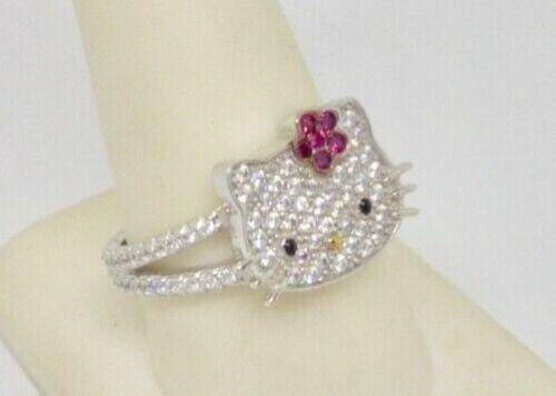 New Posh Hello Kitty Sanrio Sterling Silver Pave Diamonique CZ Ring NWOT