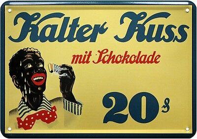 Walter Kuss mit Schokolade Blechschild Postkarte Reklame Retro Blechkarte PKM 01