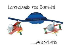 lampadario a faretti : LAMPADARIO-PLAFONIERA-PARETE-SOFFITTO-BAMBINI-AEROPLANO-A-2-FARETTI ...