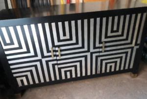 Beautiful NEW black and white cabinet with gold hardware