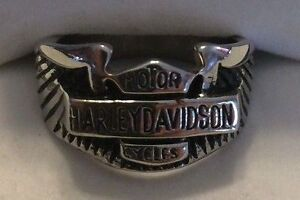 Men's Heavy Harley-Davidson Stainless Steel Ring, Size 10 w/Box