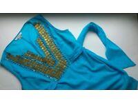 Zara Turquoise Cotton Tunic with metal decoration, 10-12