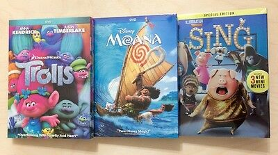 Moana  Trolls  Sing  Dvd  3 Movies Collection  New   Fast Shipping