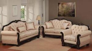 BEIGE WOODEN SOFA SET ON CHEAP PRICE(ND 92)