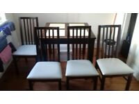 Dark wood dinning table 4 chairs
