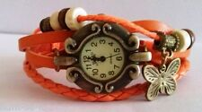 CUTE DIAL VINTAGE BRACELET WATCH FOR WOMEN - ORANGE - FREE SPARE BATTERY