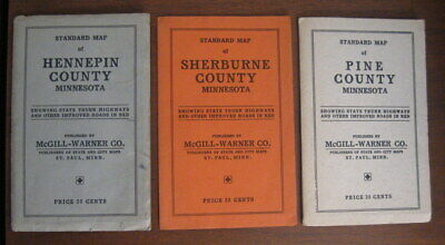 3 Vintage Pocket Maps of the State of Minnesota Hennepin Sherbourne County 1938 ()