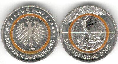 Deutschland 5 Euro Gedenkmünze 2018 Subtropische Zone Prägestätte