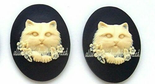 2 IVORY color CAT & Flowers on BLACK 40mm x 30mm Costume Jewelry craft CAMEOS