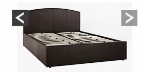 Black leather ottoman storage king size bed