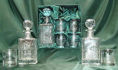 Engraved Polish Crystal Decanter Set