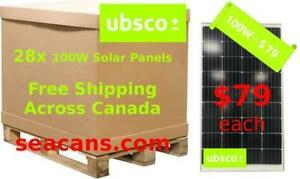 Pre-order On Now! - 100W Solar Panels Free Shipping Across Canada - $79 Per Panel or $2212 Per Pallet
