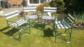 Set of 4 Sturdy Foldable Director Garden Chairs - LE7 3SA