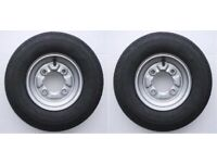 2 x Trailer wheels and tyres - 115cm PCD