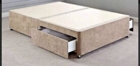 Velvet beige double divan bed base with two drawers ( mattress and headboard also Included)