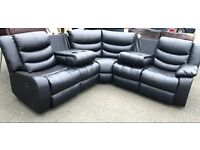 CORNER BLACK LEATHER RECLINER SOFA