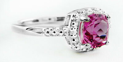 PINK SAPPHIRE 1.18 Cts & GENUINE DIAMONDS RING .925 Silver * NEW WITH TAG